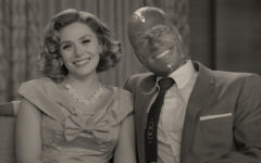 Wanda and Vision in a 1950s sitcom from the first episode of WandaVision.