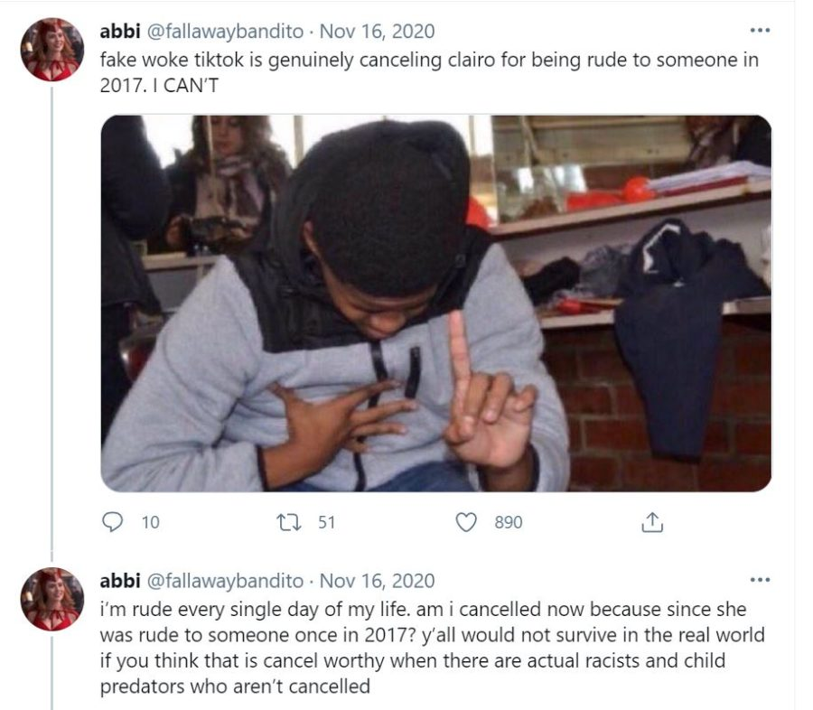 Twitter user @fallawaybandito defends musician Clairo.