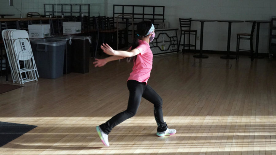 Lydia Chen practices jumping off-ice.