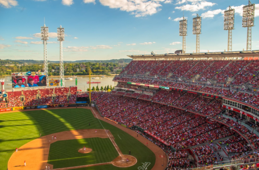 Cincinnati, Ohio baseball stadium filled with fans.