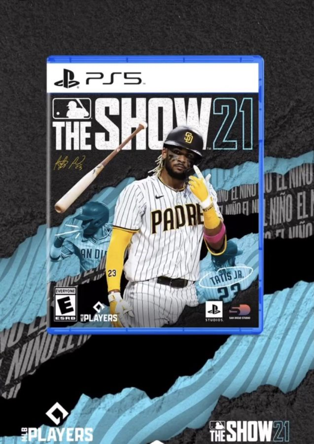 MLB+The+Show+21+video+game+front+cover+with+Fernando+Tat%C3%ADs+Jr.+