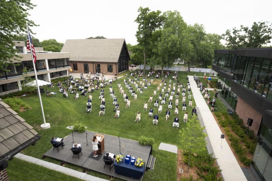Social distancing for all seating was in place in 2020, but this year it will be by special request. Commencement 2021 will take place on the front lawn (with a rain plan of Huss) on June 6 at 4 p.m.