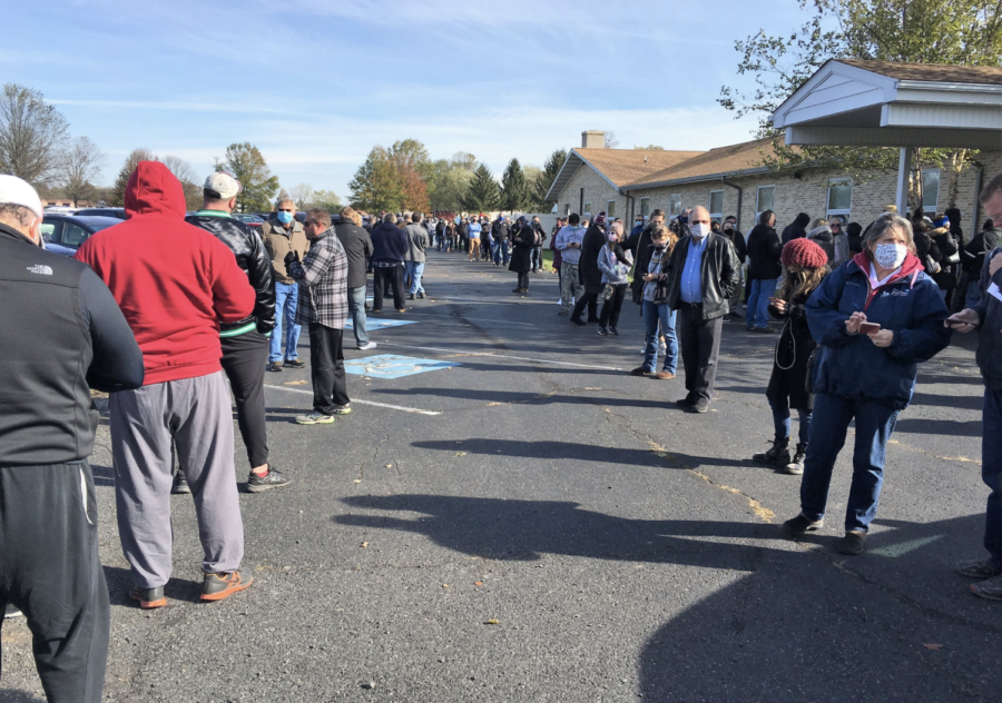 Part of a voting line in Limerick Township in Lindberg Heights, PA on Nov. 3, 2020. The estimated wait time to cast a ballot was more than two hours.