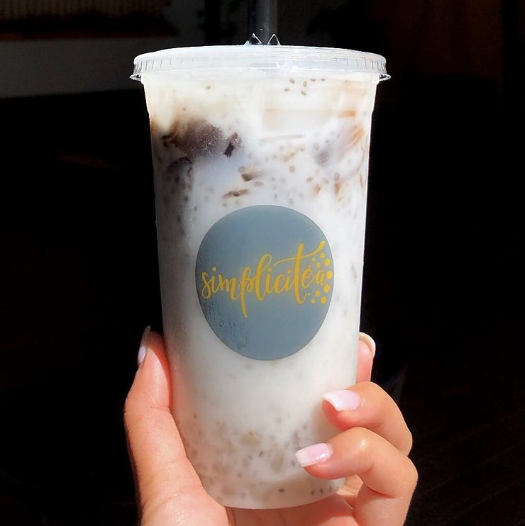 One of SimpliciTea's customized drink options, a coco milk refresher with boba.