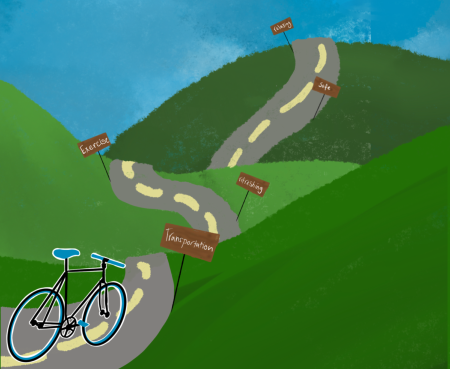 GO FOR A RIDE. Biking is an excellent way to relieve stress and get outside.
