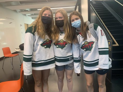 Students choose to dress up by wearing a jersey for their favorite hockey team, the Minnesota Wild. Senior Naomi Straub, I love dressing up with my soccer team.