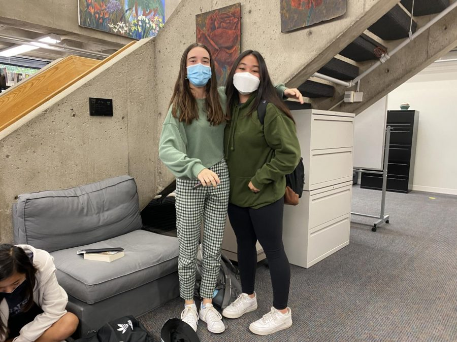 Freshman Sophia Bietz showed up in her favorite green hoodie and leggings, her friend Ada LaTarte showed up in plaid green pants and a matching green sweater.