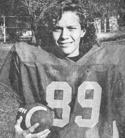 Director of Athletics Dawn Wickstrum dressed as starting cornerback for her MS football team in 1992. I was around a great group of guys that sort of accepted me in their world, she said.