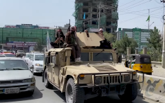Once the U.S. began removing troops from Afghanistan, the Taliban took the opportunity to take over. Taliban military vehicles were seen in the streets and a Taliban flag was raised above the presidential palace.