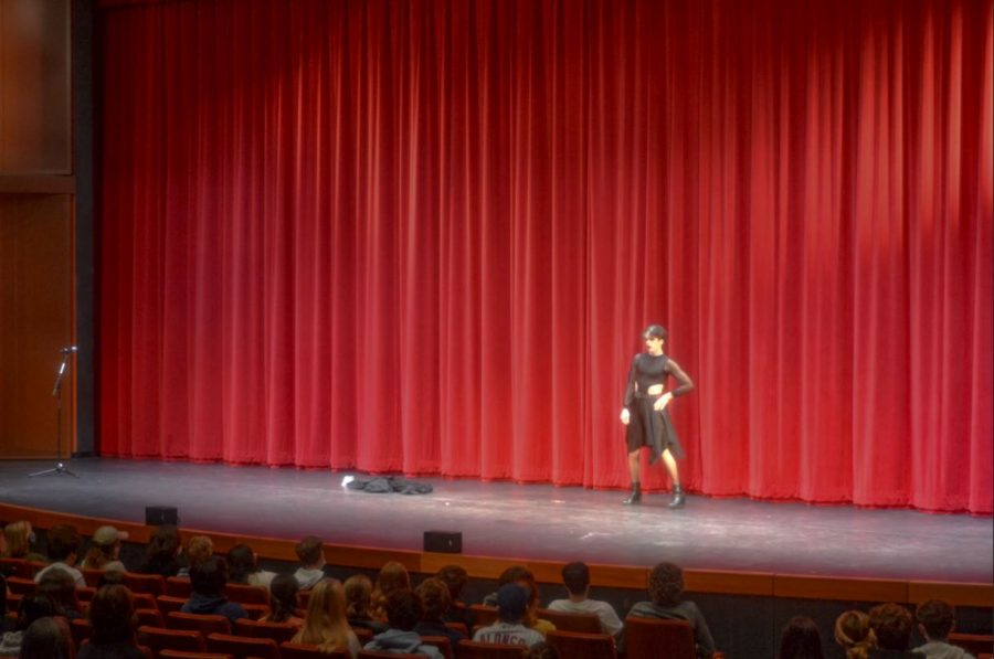 Senior Griffin Moore uses lip syncing abilities to hype up the crowd.