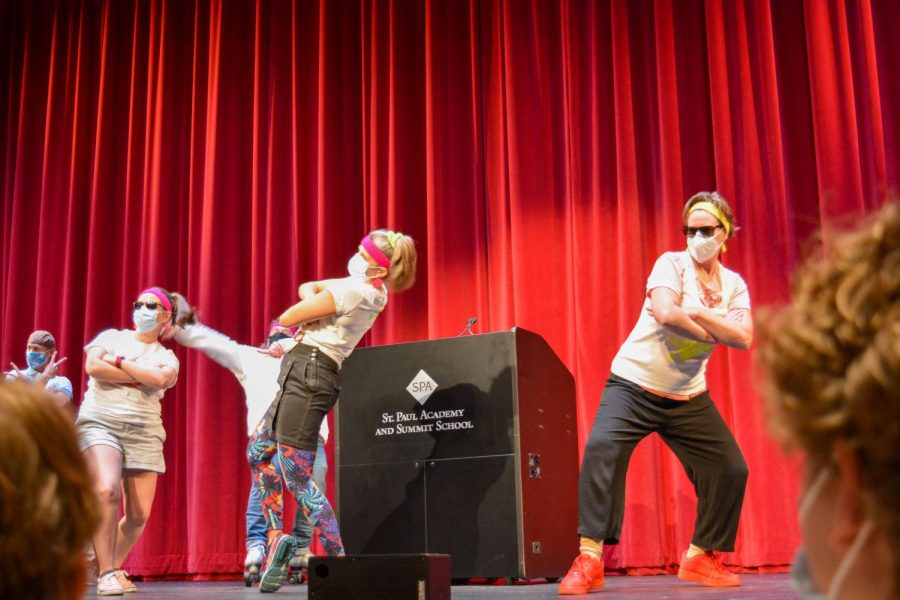 Upper school science and history teachers Christine Schwichtenberg and Andrea Moerer take center stage to show off their dance moves.