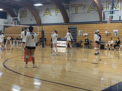 GETTING READY TO GO. Senior Ester Allen gets subbed into the rotation as the Spartans make their comeback for the second set. Allen had a great night and she hit the ball in an excellent play that led to GVV winning the point.