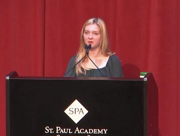 Senior Sophie Cullen delivers her speech in the Huss Center Auditorium. As she is among the few first speakers of the year, Cullen was determined to send an impactful message to the audience about the academic culture at SPA.