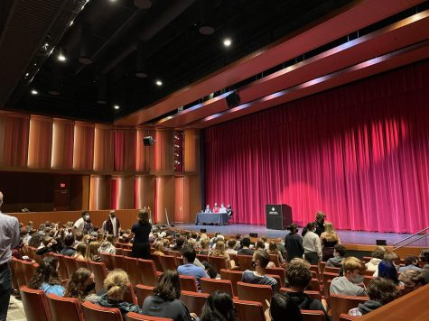 The upper school gathers in the Huss auditorium before a senior speech assembly. There are usually four senior speakers per assembly, which happens once or twice a week.